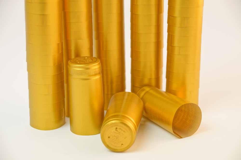 thermo schrumpfkapseln gold 33x50 mm vpe 100st kapseln flaschen ausstattung. Black Bedroom Furniture Sets. Home Design Ideas