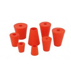 Gummi-Stopfen rot Ø 35-45mm mit 9mm Bohrung